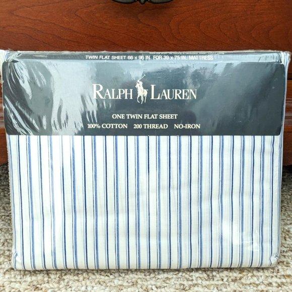 Ralph Lauren Twin Flat Sheet Blue Stripe NEW